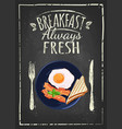 poster with plates of fried and scrambled eggs on vector image vector image