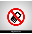 Prohibited round icon Turn off cell phone sign on vector image