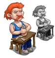Red-haired man playing dominoes on wooden table vector image