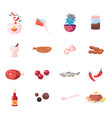 set icons food and condiments red hot chilli vector image