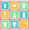 Set of 9 colorful icons of female clothing vector image vector image