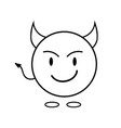 simple smiley as a devil linear icon vector image