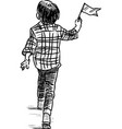 sketch a little boy walking with a small flag vector image vector image