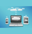 smartphone laptop tablet with cloud data transfer vector image