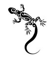 stylized lizard black white reptile vector image