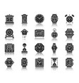 watch black silhouette icons set vector image vector image