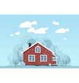Winter house facade Traditional cottage vector image