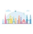 world airplane skyline architecture urban city vector image vector image