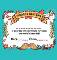 worlds best dad award certificate template vector image