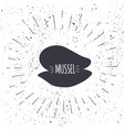 hand drawn mussel icon logo in black and white vector image