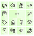 14 gift icons vector image vector image