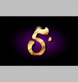 5 five number numeral digit golden 3d logo icon