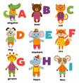 alphabet with cute animals a to i vector image