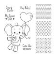 baelephant outline design set seamless patterns vector image vector image