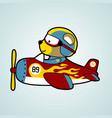 bear pilot on red plane cartoon