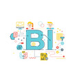 bi - business intelligence word lettering with vector image vector image