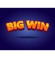 Big Win banner for online casino poker roulette vector image