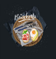 bruschetta with avocado egg and bruschetta vector image vector image