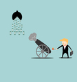 Businessman artillery fire bullet money vector image