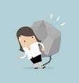 businesswoman carrying a big rock vector image vector image