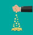 cartoon businessman hand losing golden coins vector image