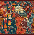 christmas clip art elements patchwork wallpaper vector image