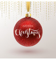 christmas greeting card red christmas ball with vector image