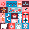 christmas seamless pattern flat winter icon mosaic vector image