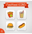 collection apps icons with fast food set 1 vector image
