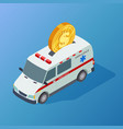 commercial medicine isometric ambulance and vector image vector image