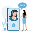 customer service woman hotline operator advises vector image