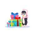 cute penguin girl with lots gifts on a white vector image vector image