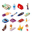 diabetes control isometric icons vector image vector image