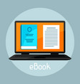 e-book concept laptop with book digital library vector image