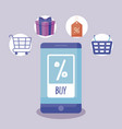 ecommerce online with smartphone and icons vector image