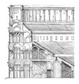 elevation and section of the colosseum the tiers vector image vector image