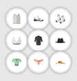 flat icon clothes set of brasserie singlet vector image vector image