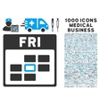 Friday Calendar Grid Icon With 1000 Medical vector image vector image