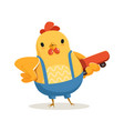 funny cartoon chicken standing and holding vector image vector image