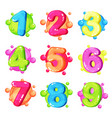 funny colorful numbers set kids font vector image
