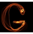 G letter in fire vector image vector image