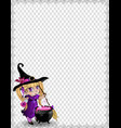 halloween template of witch baby girl with vector image vector image