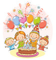 happy kids at the birthday party vector image
