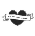heart and ribbon with inscription vector image vector image