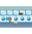 Laundry shop full of washing machines vector image