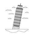 line leaning tower of pisa architecture and clouds vector image vector image