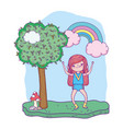 little girl with rainbow in the landscape vector image