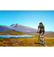 Man cyclist traveling on Norway vector image