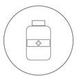 medicine bottle icon black color in circle vector image