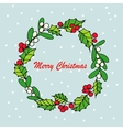 Merry Christmas mistletoe with berry Traditional vector image
